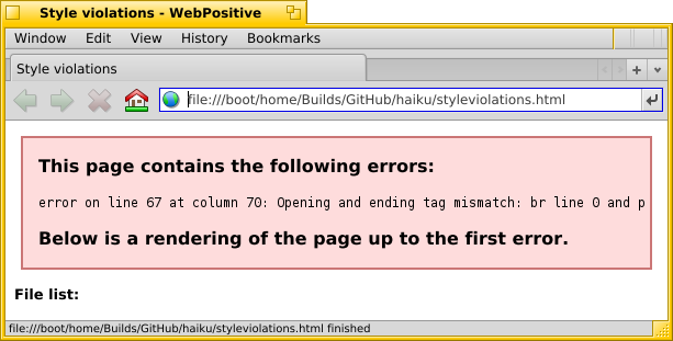 Screenshot showing WebPositive complaining about html file