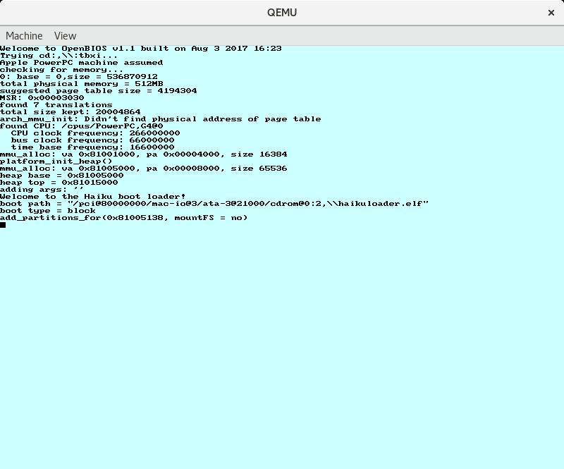 6071 (ppc: OpenFirmware boot loader hangs on QEMU) – Haiku