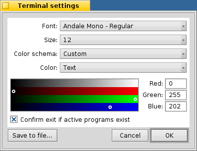 white background in Terminal settings