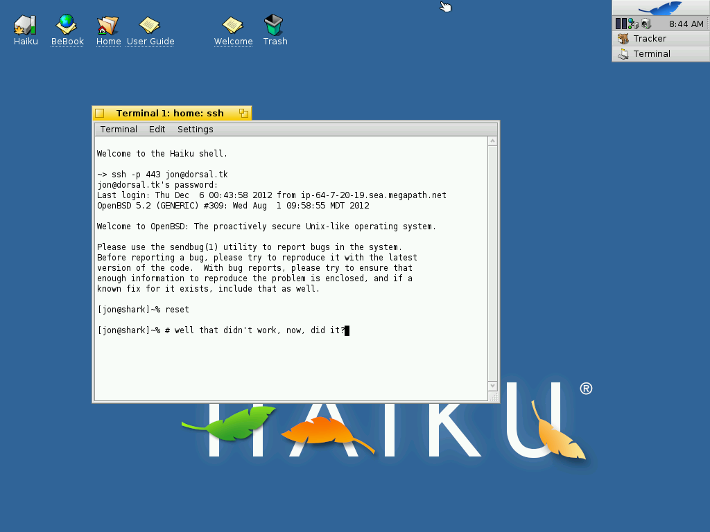 6510 (terminal not handling color sequences properly) – Haiku