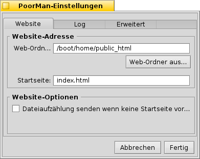 Screenshot of the localized PoorMan preference window
