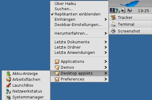 Deskbar menu (German localizaion).